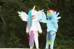 """My Little Pony costumes: Princess Celestia and Rainbow Dash. We sewed the costumes out of soft fabric, adding """"cutie marks"""" made out of felt. The wings were cloth stretched over wire. The hats were crocheted with yarn manes and we had yarn tails."""