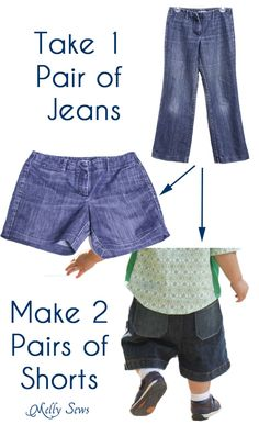 How to turn one pair of jeans into two pairs of shorts - one for mom and one for kiddo - Melly Sews