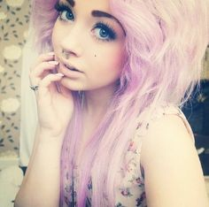 Pretty pink scene hair curls emo indie