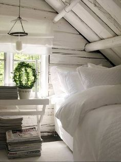 white attic bedroom - except I wouldn't squish the bed into the corner like that...