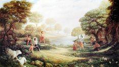 "Goloka, Krishna's abode (""He makes me, to lie down in green pastures, beside still waters..."") krsna-art.com"