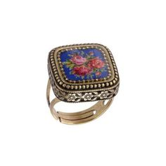 Michal-Negrin-Marvelous-Adjustable-Ring-w-Roses-Cameo-Glitter-Hypoallergenic