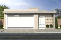Resultado de imagem para muros e fachadas casa terrea Modern Garage Doors, Modern House Facades, House Front Design, Gate Design, House Entrance, Living At Home, Facade House, House Layouts, Model Homes