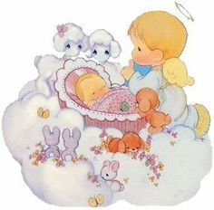 precious moments ~ angel with baby in a bassinet