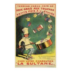Vintage French Food Poster-rare