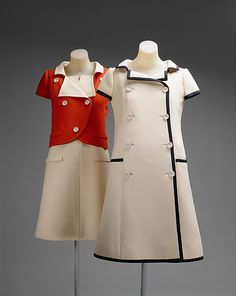 1965 Vintage Balenciaga Ensemble (Left figure) Courrèges' sensibility evolved from his training with Balenciaga.  In this day ensemble, he applied the surgical cut and strict tailoring to the geometric planes of 1960s fabric.  The thrown-back rolled collar derives from Balenciaga, as does a responsiveness to comfort