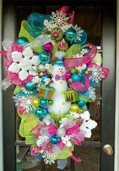 snaowman mesh wreaths   Details about Snowman LUXE Christmas door Wreath XL LOADEd Deco Mesh ...