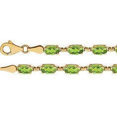 "14K Yellow Gold Oval Peridot 7.25"" Line Tennis Bracelet"