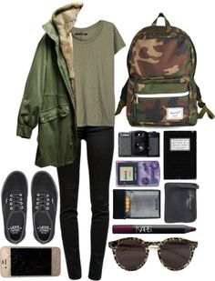 High school outfit  √ Army Green Basic Top √ Green Parka √ Army Patterns Herschel Bag pack √ All Black Vans Shoes
