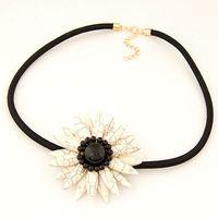 Flor collares y colgantes temperamento bohemio girasoles turquesa gargantilla collar 2015 nueva joyería de moda para mujeres