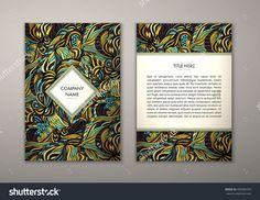 Flyer Template With Abstract Ornament Pattern. Vector Greeting Card Design. Front Page And Back Page. - 499384783 : Shutterstock