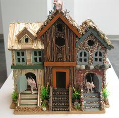3 Little Pigs! Adorable.  COC Bird House exhibition.
