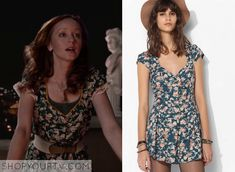 """Cassandra's floral print dress from """"The Librarians and the Apple of Discord"""" is by Urban Outfitters, although it looks like the costume department added a line of peach trim to the neckline and lace to the sleeves. IDed by Shop Your TV: http://www.shopyourtv.com/2014/12/librarians-season-1-episode-5-cassandras-floral-print-dress/"""