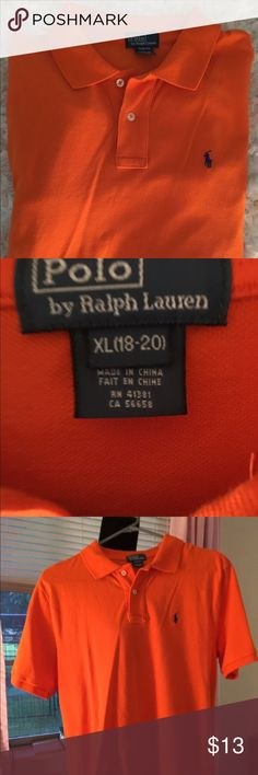 Young men's polo In great condition orange and blue worn a couple times sorry about the wrinkles size 18 to 20 Polo by Ralph Lauren Shirts Polos