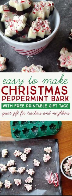 We make this easy Christmas bark recipe every year and use them for teacher gifts. They're always a hit. This post also has free printable gift tags to really make easy DIY Christmas gifts for teachers and neighbors. #ChristmasBarkRecipe #EasyTeacherGift #DIYChristmas #HolidayGiftTags #FreePrintables