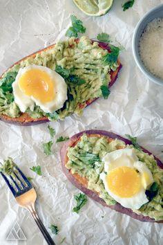 Soft Boiled Egg Over Sweet Potatoes & Avocado | The Little Pine