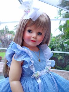 Dress for Patti Playpal. Vintage blue dotted swiss. Little Charmers Doll Designs #IdealDollDressforPattiPlaypal