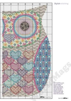 Colorful heart owl, full free cross stitch pattern with DMC labeling - Page 2: