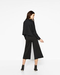 Image 4 of CROPPED PINSTRIPE TROUSERS from Zara