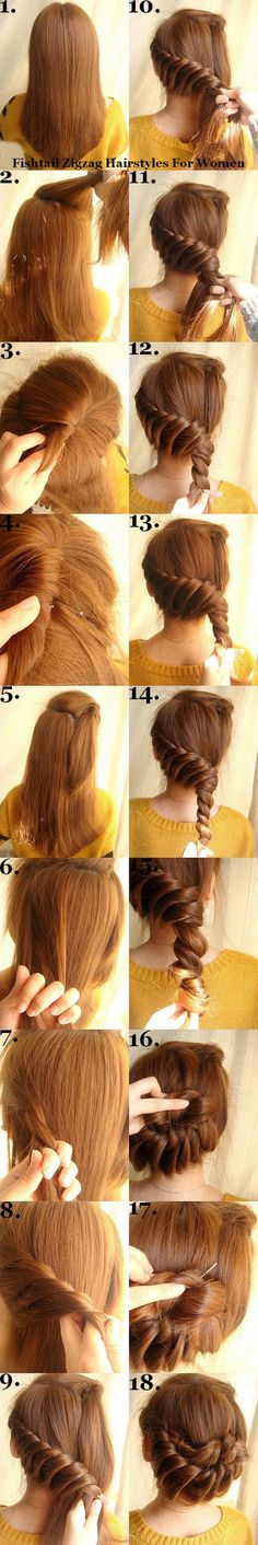 fishtail zigzag hairstyles for women