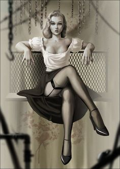 i like the pose, just alter the clothing and have a iron man helmet on the chair next to her