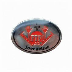 Geocaching / Geocoin lapel pin: FTF JoeCacher, silver