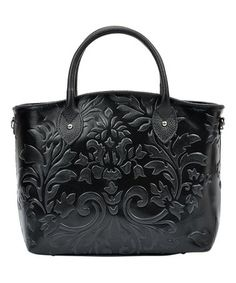 This Black Floral-Embossed Leather Tote is perfect! #zulilyfinds