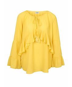 RICK CARDONA by Heine Chiffonbluse mit Volants Bell Sleeves, Bell Sleeve Top, Shops, Heine, Yellow Fashion, Ruffle Blouse, Long Sleeve, Form, Women