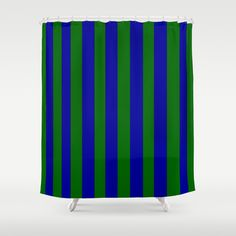 Green and Blue Stripes Shower Curtain by Celeste Sheffey of Khoncepts - $68.00  #blueandgreen #stripes #homedecor