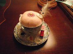 TEACUP Pincushion Pincushion Teacup by KathysRetroKorner on Etsy, $18.00