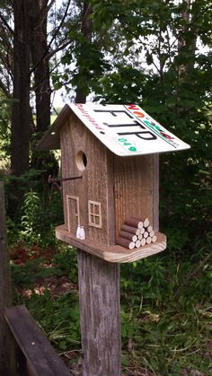 Rustic Wren Birdhouse With Wisconsin License Plate Roof By RusticCabinManCave On Etsy