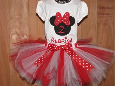 Minnie Mouse Birthday Tutu Set Red and White by AddiandBrooks