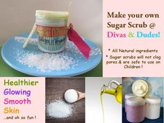 Homemade sugar scrub is the most natural way to soften, exfoliate and to freshen up the skin. Sugar scrubs can be a perfect solution to keep your skin smooth and radiant throughout the year.  It has moisturizing properties that prevents the skin from drying. It is safe to use even on children's sensitive skin and to soothe chapped lips.  Come over and make your very own tub of  Yummy Sugar Scrub now at Divas & Dudes !