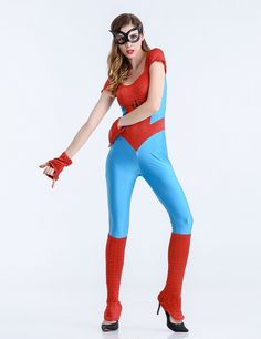 ==> [Free Shipping] Buy Best Hot Sale Women Spider Man Costumes Hero Costumes For Adults Red Blue Zentai Suit Sexy Girls Halloween Cosplay Costume jumpsuit Online with LOWEST Price   32729832626