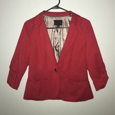 Short Red Blazer Brand: Timing.  ❌H&M Brand marked for Exposure ❌ 77% Polyester, 20% Rayon, 3% Spandex. H&M Jackets & Coats Blazers