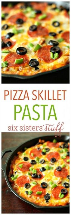 Pizza Skillet Pasta from SixSistersStuff | This pizza dish is made in one pan and is ready in a matter of minutes! Add your favorite pizza toppings to make it your own and enjoy a dinner that everyone will love.