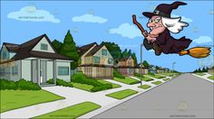 An Old Witch Riding A Broom At A Suburban Neighborhood:  An old woman with white hair and green eyes wearing a dark violet pointy hat dress and brown boots smirks showing a single tooth while riding a flying broomstick . Set in a nice neighborhood with different two floor houses and a front yard full of landscaped grass with street lamps and nice pavement.  #clipart #women #female #cartoon #illustration #vectortoons #vector