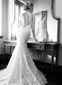 Wedding Dresses - $236.13 - Trumpet/Mermaid Scoop Neck Sweep Train Lace Wedding Dress (0025058527)