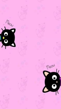 pair black cats iPhone wallpaper background pink