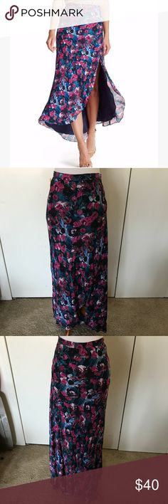 Haute Hippie hi-low asymmetrical skirt sz 6 NWT Beautiful slit skirt! New with tags. Small mark on bottom of lining as shown, priced to account for this. Measurements shown in photos. Please ask questions or request additional photos if you'd like, I want you to be happy with your purchase! ❌Model❌Trade❌✅Offers✅ Haute Hippie Skirts