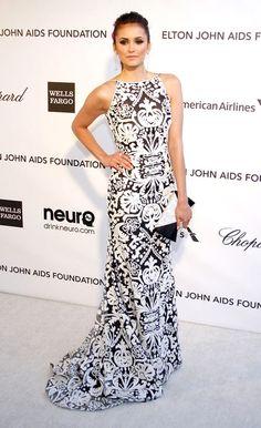 Nina Dobrev in Naeem Khan, Elton John's Oscars viewing party 2013. She always does it right.