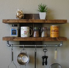 Modern Rustic Spice Rack Shelf w/ Pot Rack Bar & 7 Hanging Hooks Industrial Rustic Kitchen Wall Shelf Spice Rack with von KeoDecor - Clear Kitchen Shelf Kitchen Shelf Design, Kitchen Wall Shelves, Kitchen Rack, Home Decor Kitchen, New Kitchen, Kitchen Storage, Kitchen Rustic, Kitchen Ideas, Rustic Kitchens