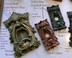 Light Switch Plate Green Man-limited editionvintage by CastShadows