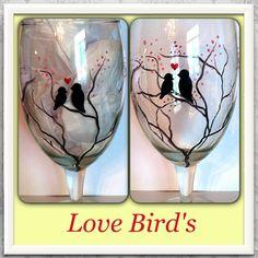 Hand painted love birds!