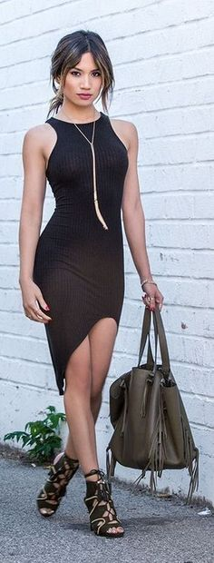Latest fashion trends: Street style | Asymmetrical dress and strapped heels http://www.buzzblend.com