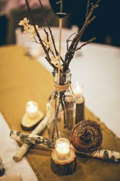 Rustic Wedding Centerpiece - Birch Bark - Candles - Mushrooms - Table Numbers - Milk glass jars - Burlap table runners - DIY Wedding
