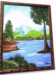 Lake View of Farm Below The Mountains Original Oil, 18 X 24
