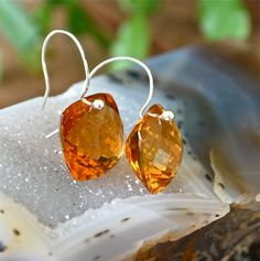Golden Yellow Citrine Sterling Earrings by JLaurynDesign on Etsy, $80.00
