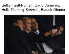 British Prime Minister David Cameron, Denmark& Prime Minister Helle Thorning-Schmidt, and President Obama pose for a photo during Nelson Mandela& memorial service. Michelle Obama is not amused. David Cameron, Nelson Mandela, Michelle Obama, Barack Obama, Obama President, Schmidt, Robert Cornelius, Justin Bieber, Kim Kardashian