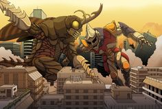 Commission: MEGALON VS. JET JAGUAR by VanHeist.deviantart.com on @DeviantArt